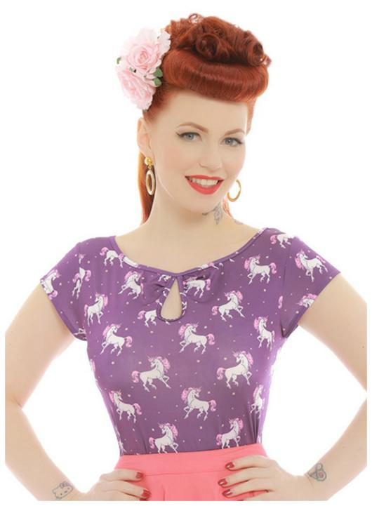 Lindy Bop Dido Purple Unicorn Print Top