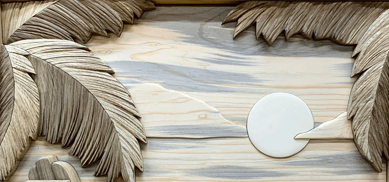 Texture Intarsia Palm Fronds