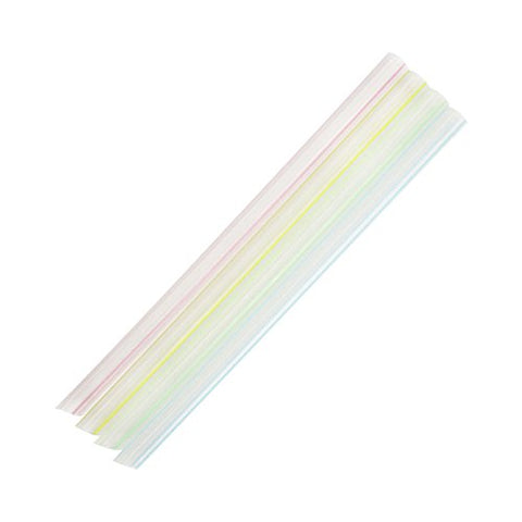 Karat - Straws - 9 Large Striped Mixed Color, Diagonal Cut - C9050S