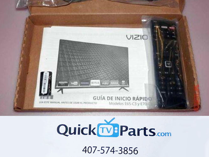NEW  Vizio 600156T00-886-G Remote Control Manual Batteries Power Cord E70-C3