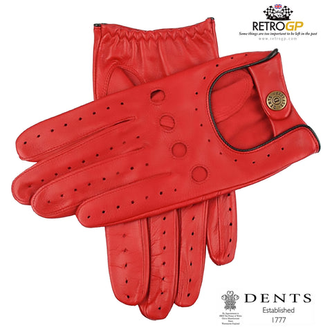 Dents Classic Driving Gloves - Berry Red and Black