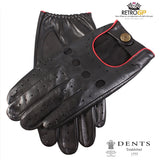 Dents Classic Driving Gloves - Black and Berry Red