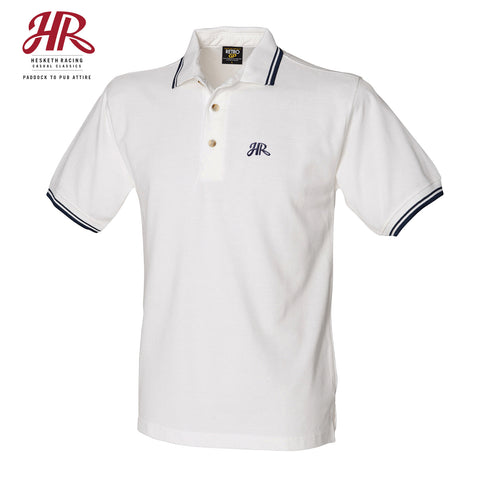 OFFICIAL Hesketh Racing Casual Classics - Double Tipped Polo - White