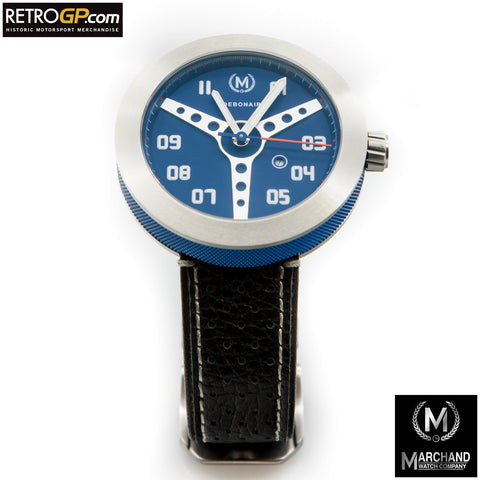 Marchand Debonair Watch Blue with Black Strap