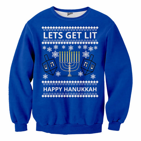 Lit Hanukkah Sweater