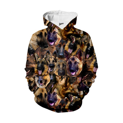 German Shepherd Faces Hoodie
