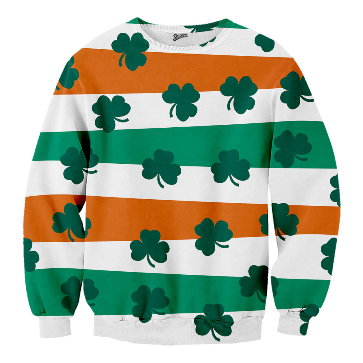 St. Patricks Day Sweater, Ireland Flag n' Clovers Sweater