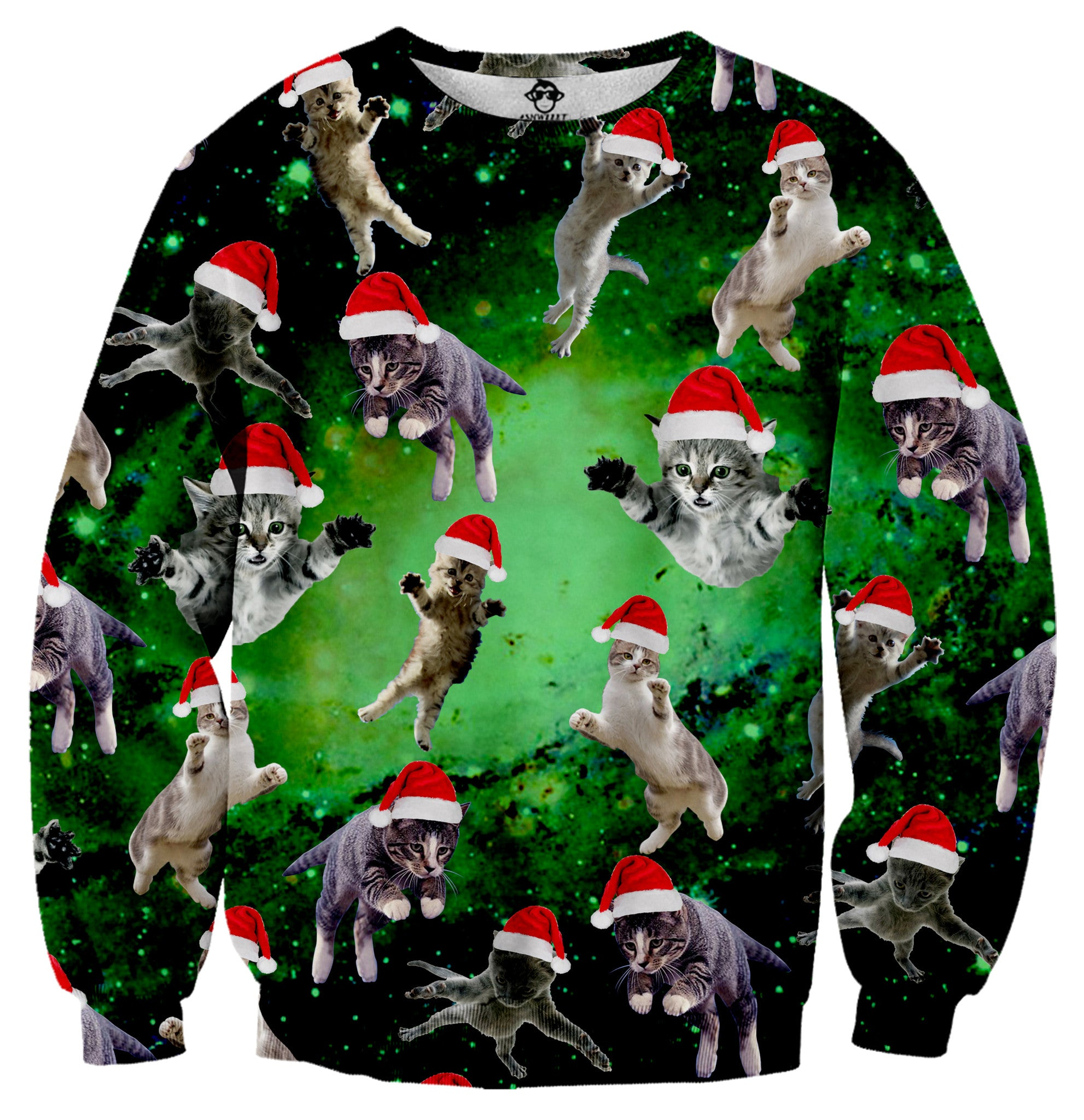 Ugly Christmas Sweater Cat.Galaxy Christmas Cats Tacky Sweater