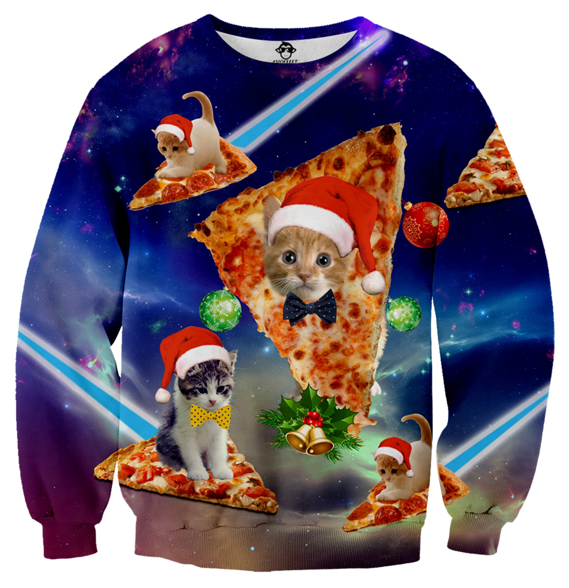Ugly Christmas Sweater Cat.Christmas Cat Pizza Ugly Christmas Sweater