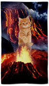 volcano lava cat towel