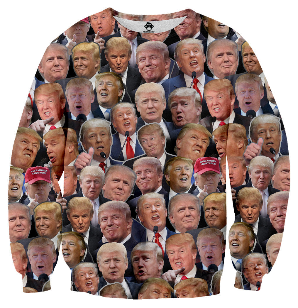 Donald Trump faces sweater