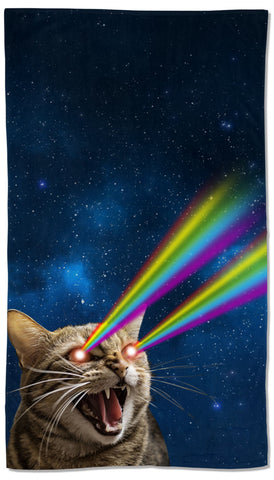Galaxy Laser Cat Towel