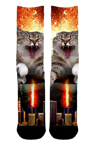 Fire Cat Destroyer Socks