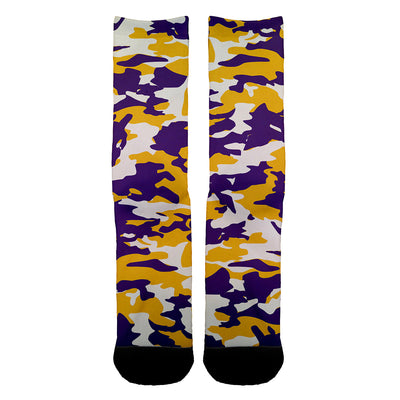 Purple and Yellow Camo Socks - Shweeet
