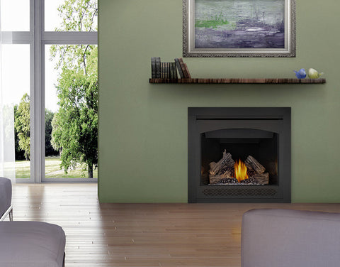 Napoleon Ascent 36 Direct Vent Gas Fireplace - Top/Rear Vent w/ Black Door- Natural Gas - Electronic Ignition