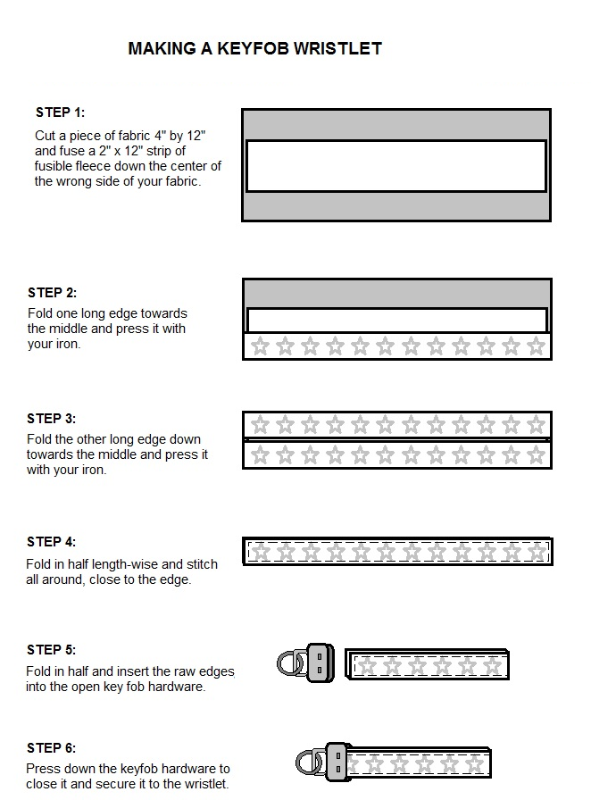 Making a Key Fob Wristlet English Instructions