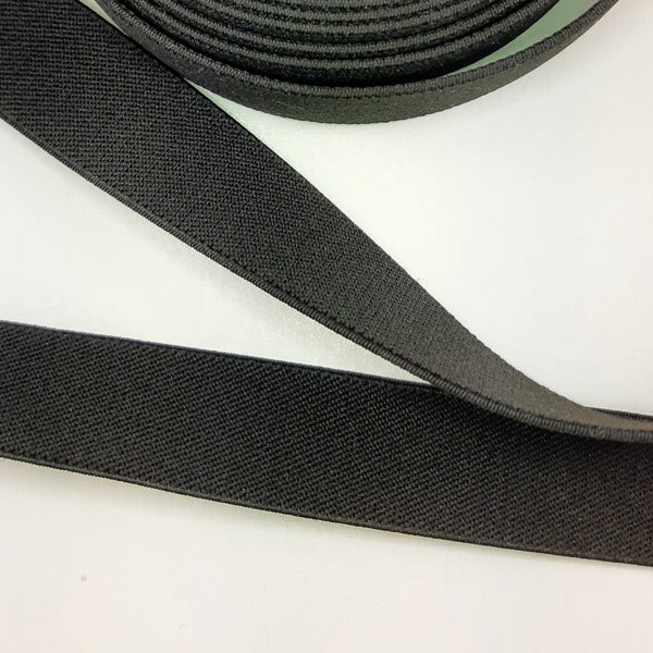 "25mm (1"") Braided Elastic, Black, sold by the meter"