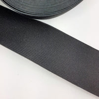 "50mm (2"") Belting Elastic, Black, sold by the meter"