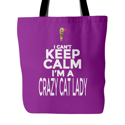 Custom Tote Bags - Crazy Cat Lady Carry Shoulder Strap Polyester Poplin Everyday Travel Bag Cats Pets Women FREE SHIPPING