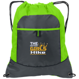 The Hottest Girls HIKE Cinch Bag w/Custom Embroidered Design Two-Tone Pocket Drawcord Close Pack Backpack Polyester School Hiking Camping