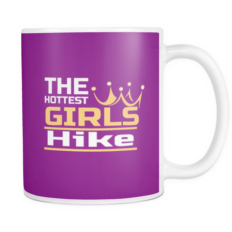 Mugs-The Hottest Girls Hike Coffee/Tea 11 oz Cup Double Sided Print Hot Cold Drinks White Ceramic Mug Colorful Background Hiking Home Office