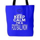 Custom Tote Bags - Football Mom Keep Calm Double Sided Print Carry Shoulder Strap Polyester Poplin Travel Bag