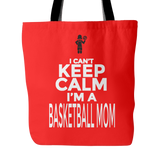 Custom Tote Bags - Basketball Mom Double Sided Print Carry Shoulder Strap Polyester Poplin Everyday Travel Bag