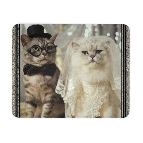 Custom Printed Mousepads Adorable Cats Groom & Bride Photo Mr. Mrs. Kitty Just Married Neoprene Rubber FREE SHIPPING
