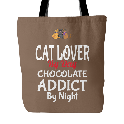 Cat Lover Chocolate Addict Custom Tote Bags New Double Sided Print Carry Shoulder Strap Polyester Poplin Totes Cats Women FREE SHIPPING