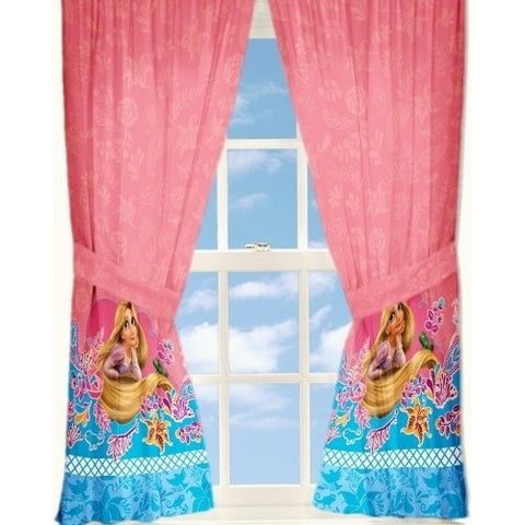 "Disney Tangled Princess Rapunzel Curtains 41"" x 63"" Drapes Panels Window Treatments Girls Room, Set of 2"