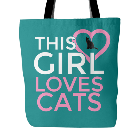 Custom Tote Bags - This Girl Loves Cats Double Sided Print Carry Shoulder Strap Polyester Poplin Everyday Travel Bag Cat Lovers Women FREE SHIPPING