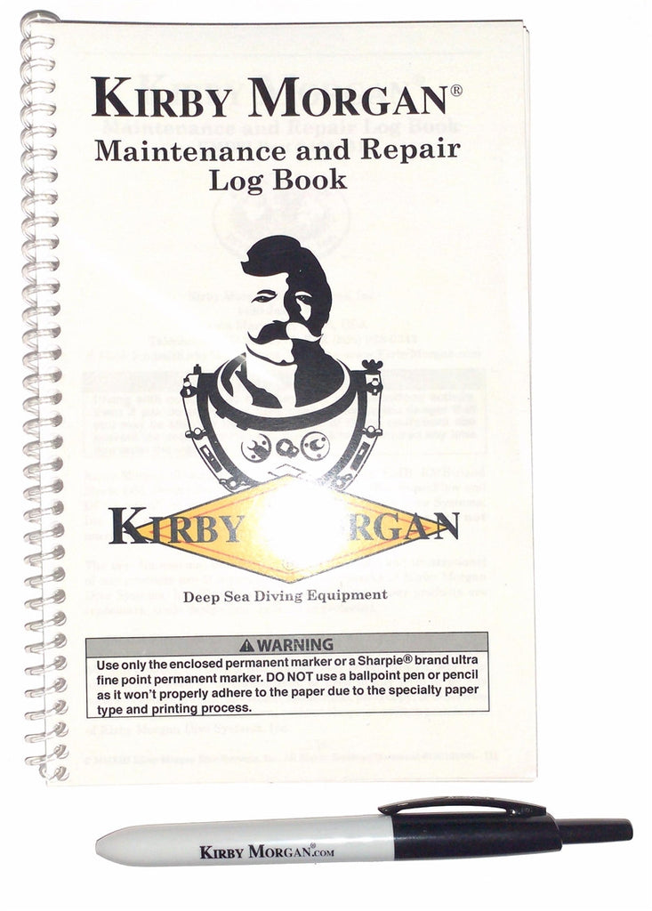 Kirby Morgan Maintenance & Repair Log Book & Pen