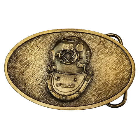 U.S. Navy Mark V Diving Helmet Belt Buckle - Brass Finish