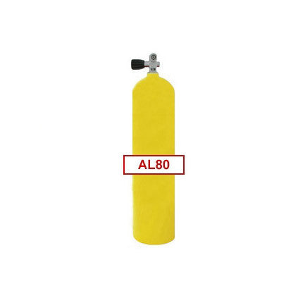 80 cu ft Yellow Commercial Diving Bailout Bottle Aluminum Tank