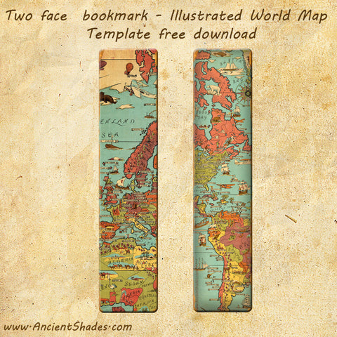 Vintage Illustrated World Map - Bookmark Template - Free Download