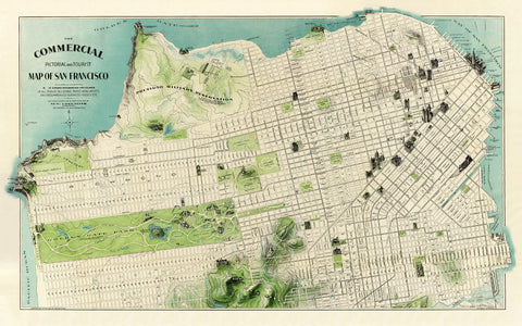 Illustrated map of San Francisco Vintage pictorial map print