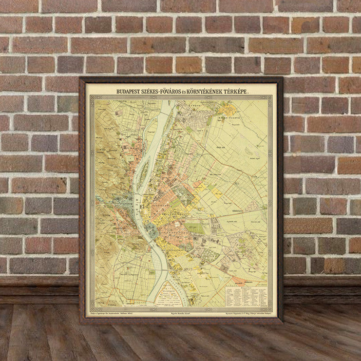 Historical Map Of Budapest Wall Map Print Budapest Régi Térkép - Historical wall maps