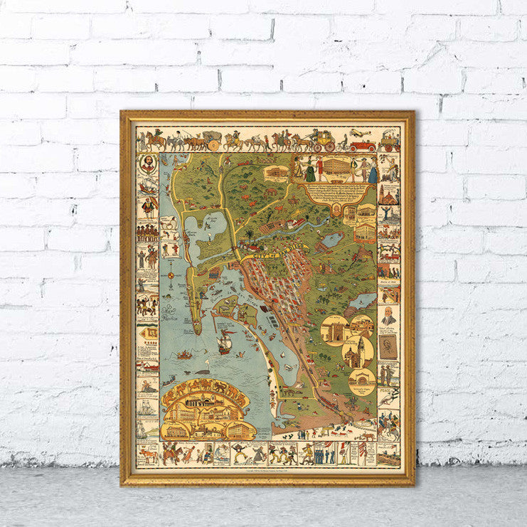 Vintage San Diego Map.Illustrated Map Of San Diego Vintage Map Wall Poster Reproduction