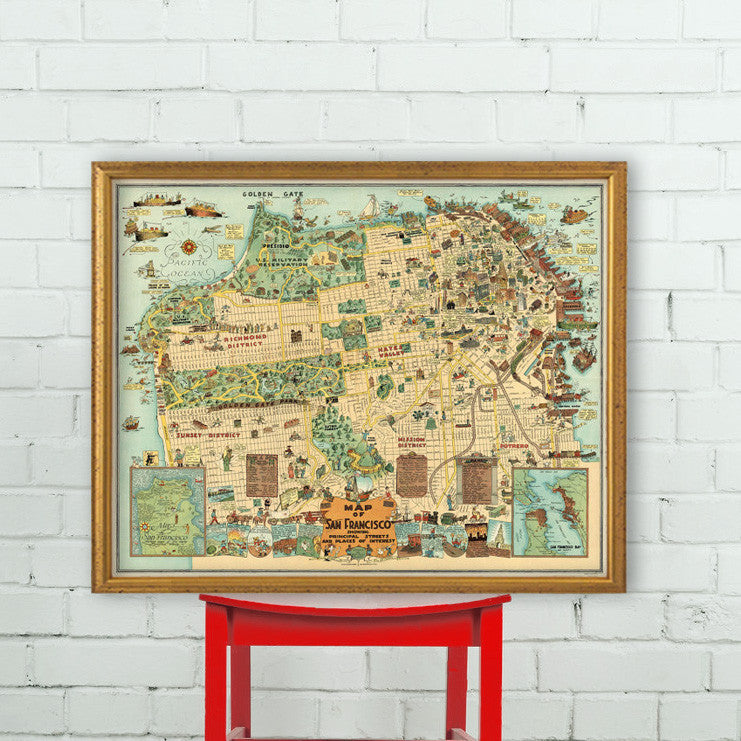 Illustrated map of San Francisco - Vintage pictorial map print ...