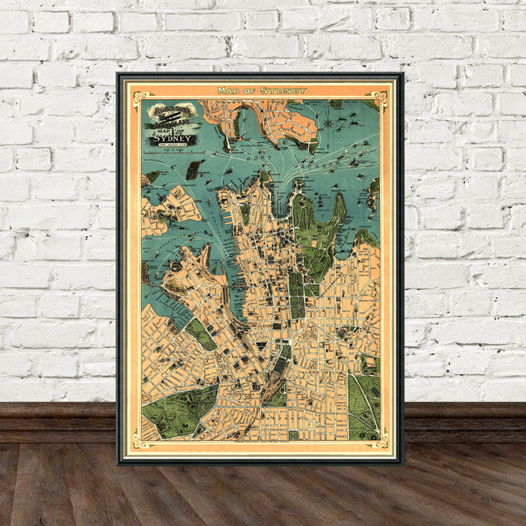 Old map of sydney pictorial map fine art reproduction old map of sydney pictorial map fine art reproduction gumiabroncs Images