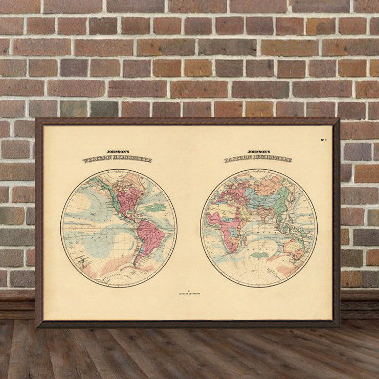 Johnson\'s Western and Eastern Hemisphere - Old map wall decor ...