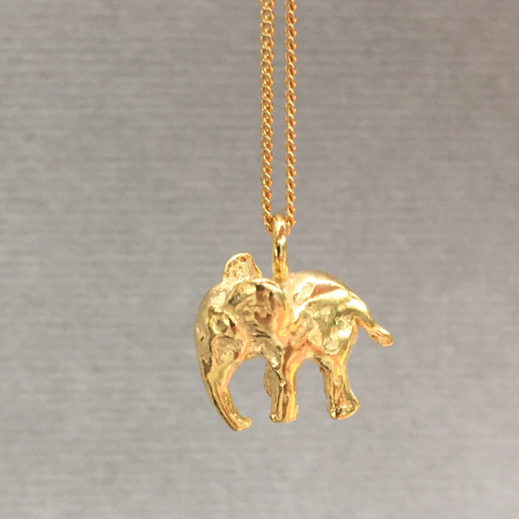 Gold elephant necklace english frippery gold vermeil elephant pendant aloadofball Gallery