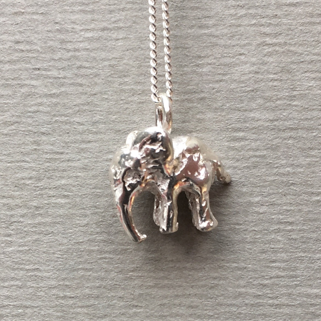 Silver elephant necklace english frippery silver elephant necklace mozeypictures Image collections