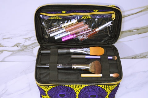 2- Tier African Print Makeup Bag