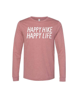 Happy Hike Unisex Long Sleeve | Heather Mauve - Keep Nature Wild