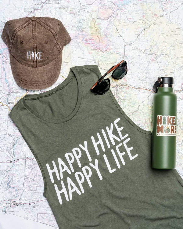 Happy Hike Women's Muscle Tank | Military Green - Keep Nature Wild