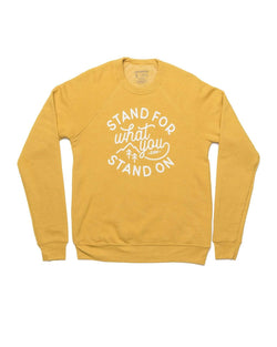 Stand For Fleece Raglan Pullover | Heather Mustard - Keep Nature Wild