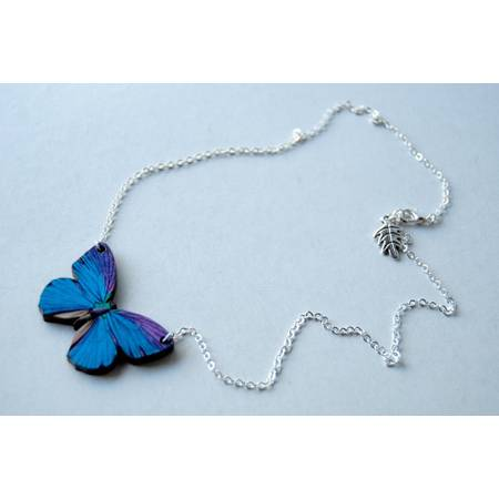 Moth & Butterfly Wood Necklace