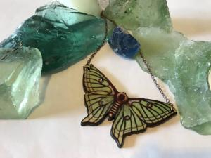 Green Luna Moth Wood Necklace