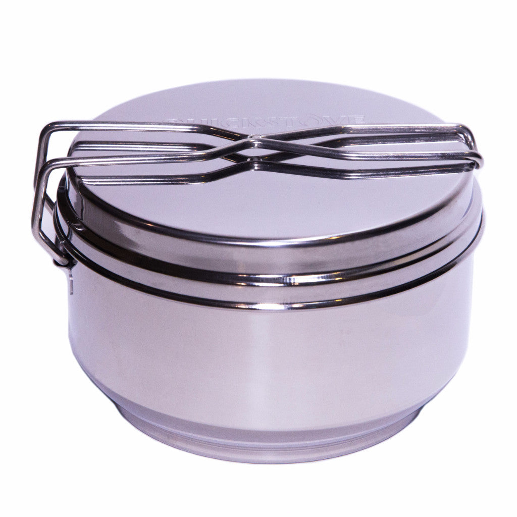 Portable Camping Cook Pot, Frying Pan, Double Boiler, Stainless Steel with Locking Lid - Perfect for Survival Kits & Emergency Preparedness by QuickStove